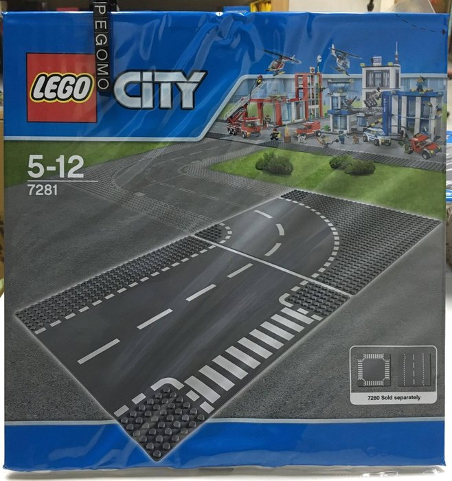 【痞哥毛】LEGO 樂高 7281 城市系列 路口與彎道各一 (2片裝)