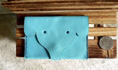 S&M國際 手工卡包  零錢包 特價 可愛大象  使用愛馬仕羊皮革手工製