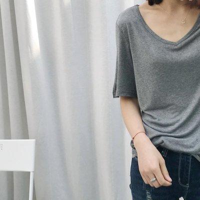 Jomi日系 韓國時尚 夏季百搭純色V領莫代爾寬鬆短袖T恤*3色預購【JM31-RU4132】