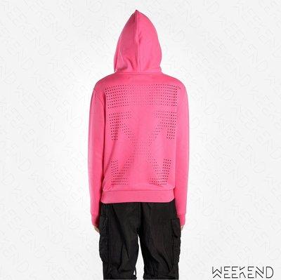 【WEEKEND】 OFF WHITE Beaded Arrows 貼鑽 箭頭 長袖 衛衣 帽T 外套 粉色 19春夏