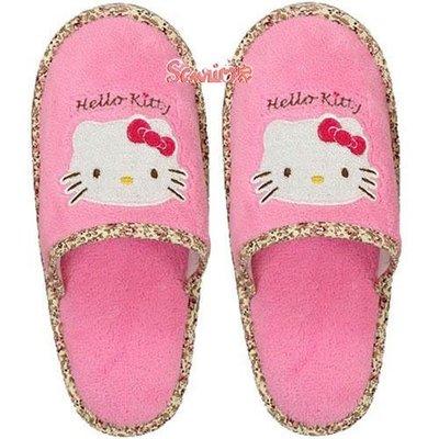 《東京家族》HelloKitty 花邊粉紅色毛拖鞋(現貨)