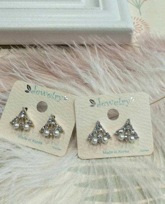 ☆草莓花園☆正韓現貨三角造型水鑽鋼針耳環    韓國直發