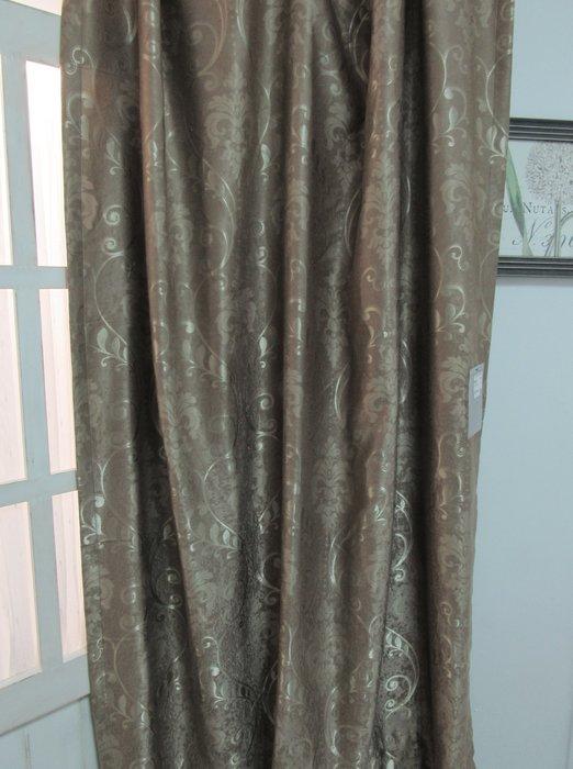 [W073]遮光窗簾  No.41雙面宮庭花絨布三明治-黃咖  雙面有花 適合隔間簾  特價出清  無接縫布 復古 典雅