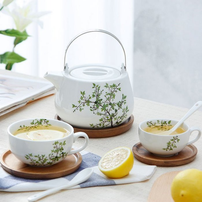 美式鄉村陶瓷下午茶茶具 居家餐廳廚房咖啡杯茶壺(杯子*1+木碟*1+湯匙*1)_☆好物優HiGoods☆