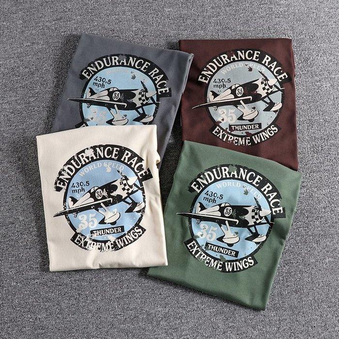 ☆Mr.☆美式風格水洗復古戰機圖案短袖T恤(四色)~預購+現貨