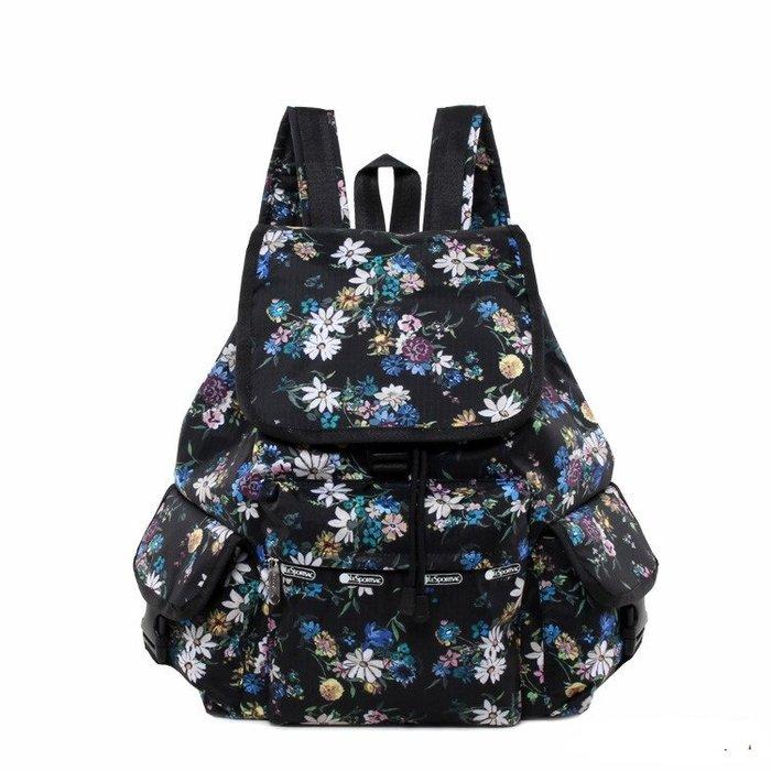 ♥ 小花日韓雜貨 ♥ --特價lesportsac 7839 逛街購物後背包出遊踏青包黑底彩色花朵款