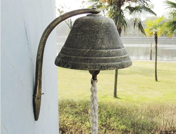超大號復古鑄鐵門鈴鈴鐺法式鐵藝壁飾咖啡館大打鈴裝飾掛件