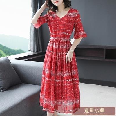 雪紡短袖連身裙 連衣裙 很仙的 紅色 碎花裙子2020夏季新款女裝收腰顯瘦V領a字裙【遠哥小舖】四月上架Z104