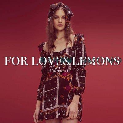 【集千】*618* For Love&Lemons 折編荷葉彈力長袖連衣裙