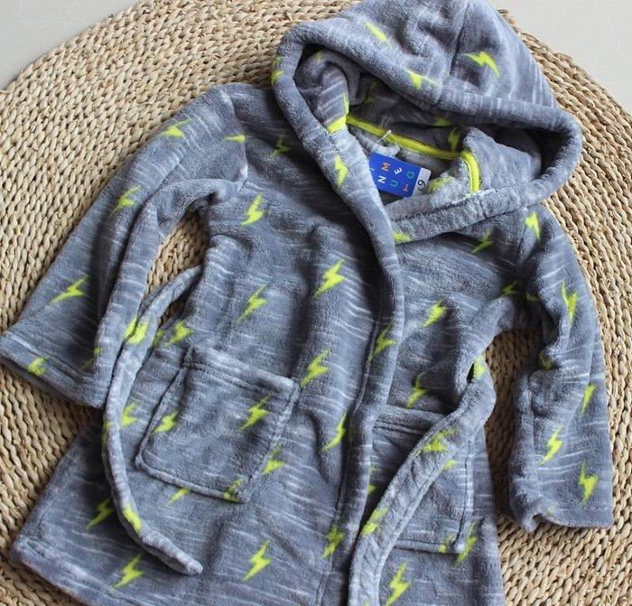 香港OUTLET代購 歐美品牌 珊瑚絨浴袍 中小童 加厚 保暖 連帽睡袍 居家服 法蘭絨 卡通睡衣浴袍 灰色