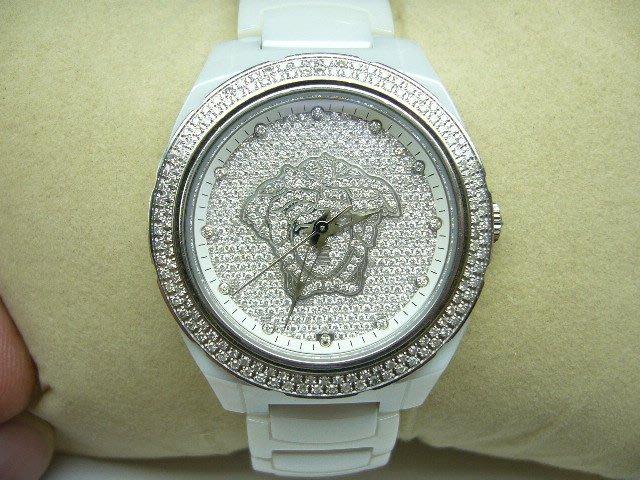 [吉宏精品交流中心]VERSACE 凡賽斯 滿天星鑽石面 原鑲表框 白色 陶瓷 機械 女錶