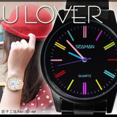 彩虹刻度對錶 繽紛簡約LUCKY馬卡龍...