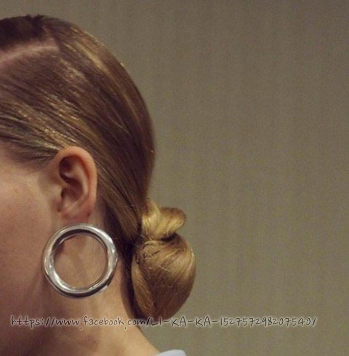 韓國 復古  古著vintage retro 鍍金銀 風極簡約百搭圓圈圓形耳扣大圈圈 擴洞