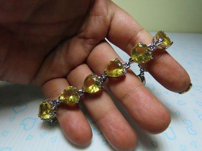 【競標網】天然漂亮火山琉璃(淺黃心形)造型手鍊(天天超低價起標、價高得標、限量一件、標到賺到)