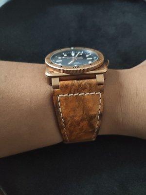 SUKI- 代用款 全新 bell ross  手工有復古古銅色加厚做舊錶帶24mm 有logo 現貨只有1條