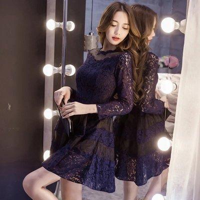 *Angel  Dance*長袖蕾絲洋裝(寶藍色)@韓國 小禮服 宴會服 氣質名媛 收腰 雕花鏤空 顯瘦@現貨+預購