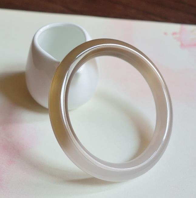 紫滕戀推出 59.7圈天然瑪瑙灰冰黃冰半壁10mm胖圓條復古