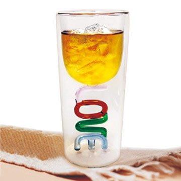 《創意禮物》 LOVE 雙層紅酒杯,杯高 17 公分,杯中杯的雙層設計~設計專利玻璃杯,愛的禮物