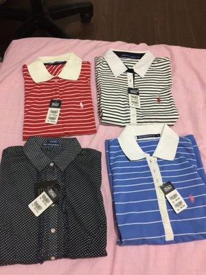 Polo 點點公主袖襯衫 established 67 sz:s 全新 女 復古 golf 條紋