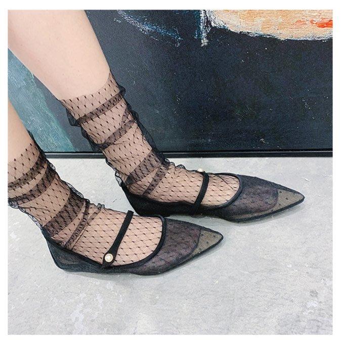 *╮S.water shop╭* 薄紗菱格紋 網襪堆堆襪仙女襪涼鞋襪 FN#00289-11 共4色 (現貨)