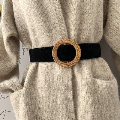 腰鏈皮帶 寬皮帶 絨面 圓釦 皮帶 腰帶 【UD011】