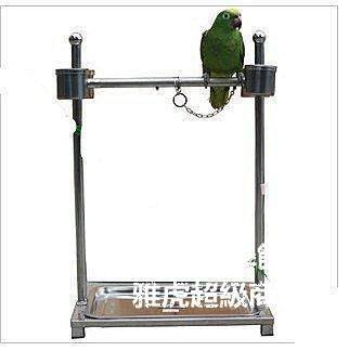 【格倫雅】^特惠不銹鋼鸚鵡籠/鳥籠/鳥架子/鸚鵡架鸚鵡站架(雙管)SG八哥籠74343