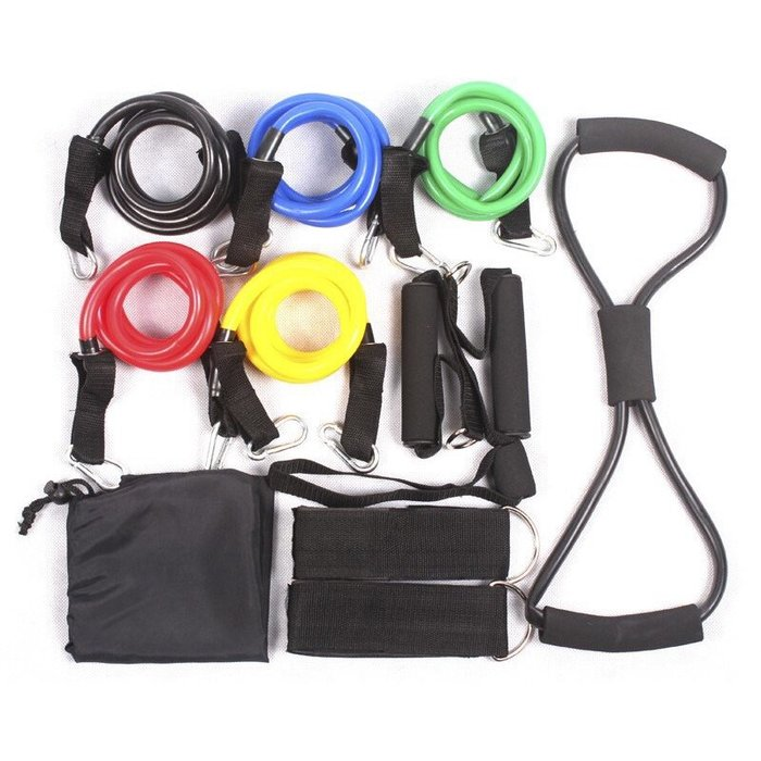 【Fitek健身網】☆健身拉力繩/彈力繩/力量訓練套裝乳膠類拉力器/皮筋管阻力帶/拉力繩組-贈送收納袋