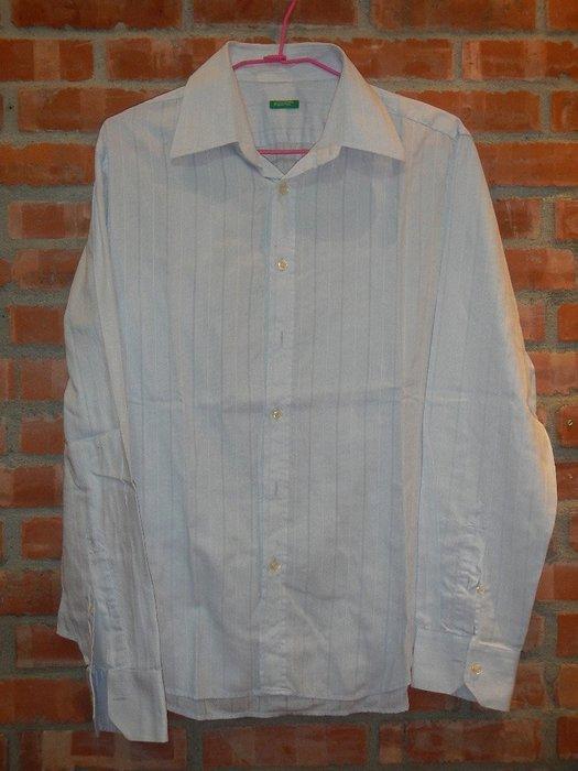 【甜心寶貝】Benetton 水藍條紋襯衫 / 頸圍 15.5 / M