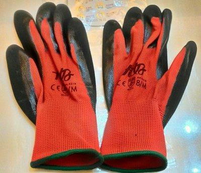 卡好 K518 掌面塗層特殊NBR金鋼砂高效能耐用手套  紅色(一雙入)   尺寸 S M  L