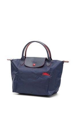 【折扣預購】21春夏LONGCHAMP LE PLIAGE Small小款深藍色紅色撞色尼龍短柄手提包/摺疊包S