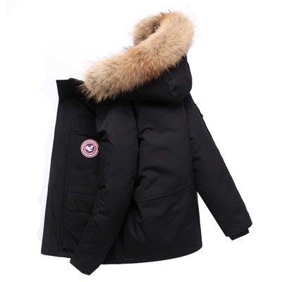 羽絨 外套 連帽夾克-純色短款貉子毛領男外套3色73un8[獨家進口][米蘭精品]
