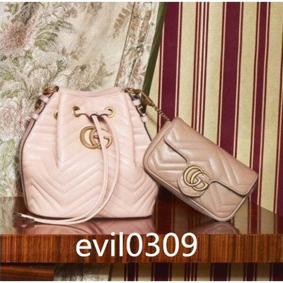 GUCCI 古馳476674 GG Marmont quilted leather bucket 水