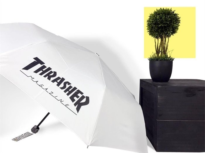 【HOPES】THRASHER HOMETOWN UMBRELLA 日本授權經銷 抗UV 雨傘-WHITE