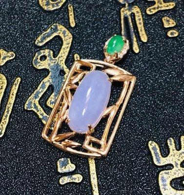 珍奇翡翠珠寶首飾-k金玉墜系列天然翡翠A貨,真金鑲真鑽冰紫羅蘭18k金玉墜,附證書