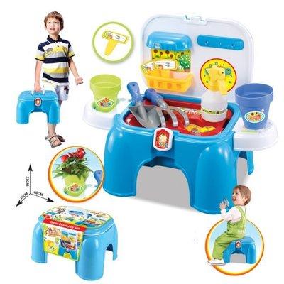 【小糖雜貨舖】2合1 多功能 兒童 遊戲 收納椅 + 園藝 農場 花園 工具 遊戲組 台北市