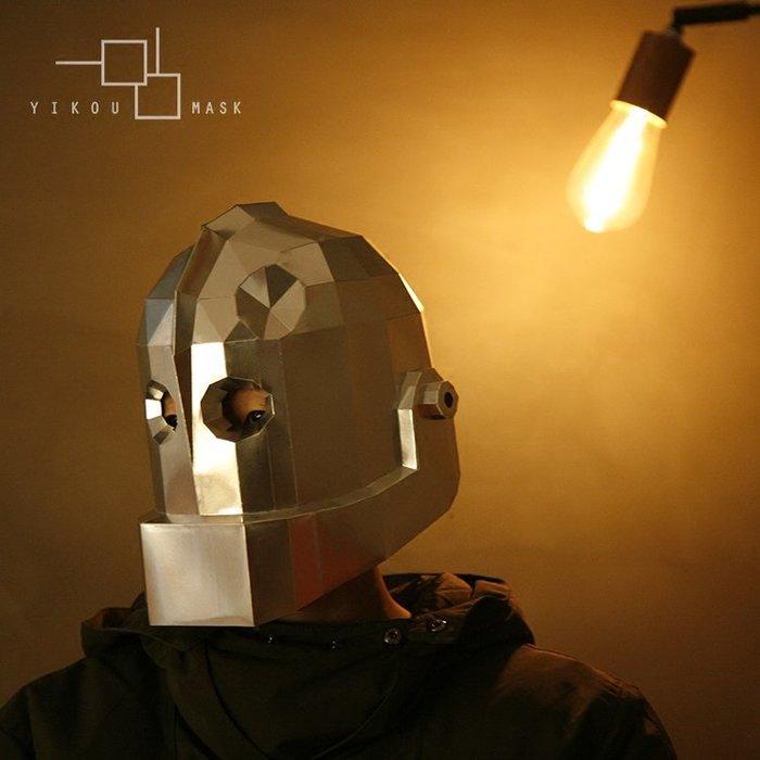 鐵皮人頭套綠野仙蹤機器人面具動漫復古童年玩具酒吧擺件紙模diy  面具頭套  手工裝飾