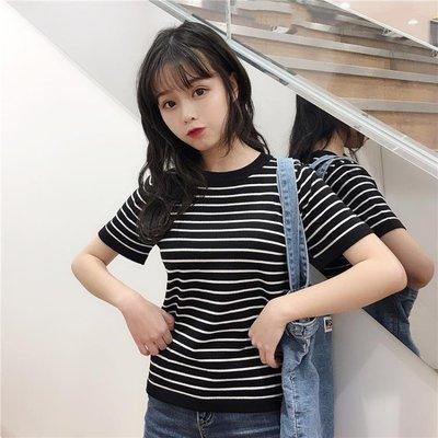 針織短袖 條紋t恤女短袖夏2019新款韓版學生寬松半袖針織衫百搭上衣服ins潮