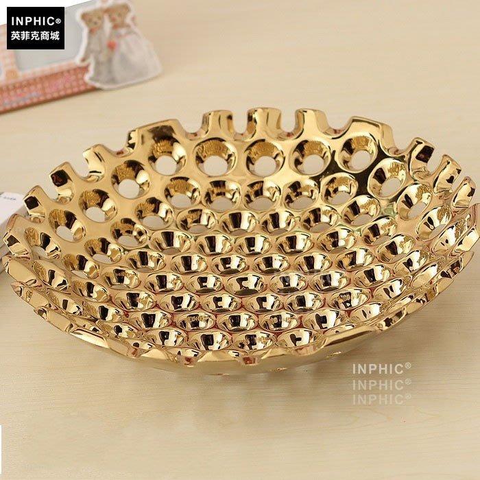 INPHIC-歐式陶瓷水果盤 雕刻藝術水果盤 鍍銀 現代裝飾家居_S01861C