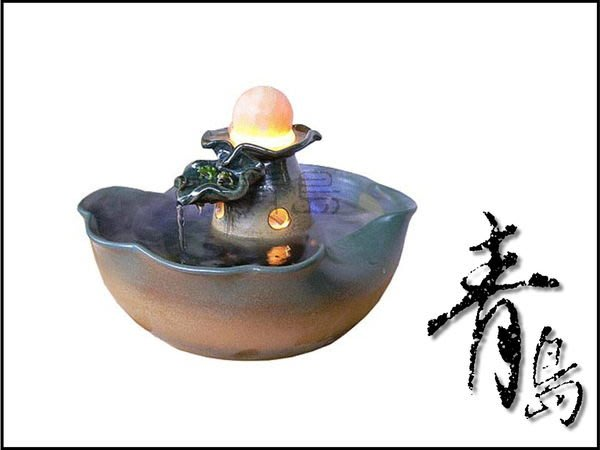 。。。青島水族。。。A-061開運流水&陶藝流水&滾滾流水&開店送禮==賀財不絕/荷盆(配6cm貓眼球)免運費.
