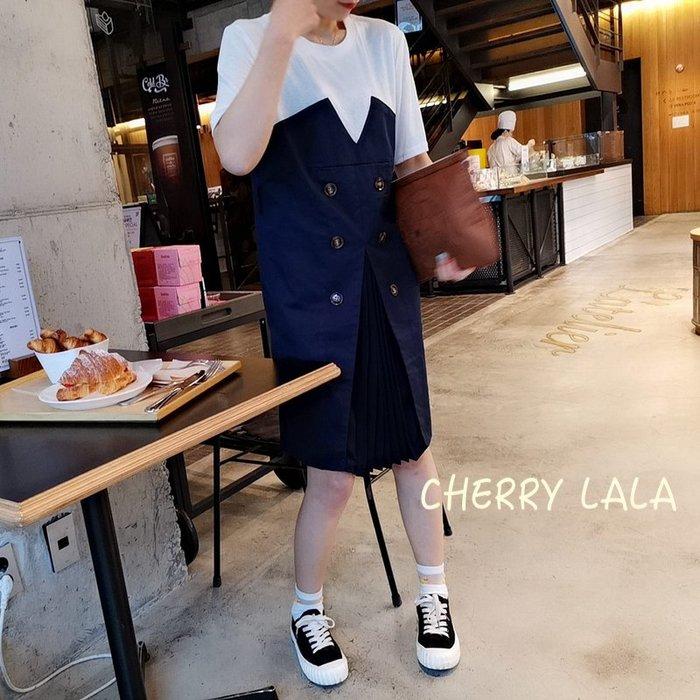 CHERRY LALA  正韓連線。19春。韓製 Korea 韓國連線 顯瘦百褶拼接風衣式假兩件連身裙 X04237