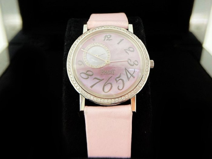 伯爵 ALTIPLANO 18K粉紅色珠母貝鑲鑽女錶
