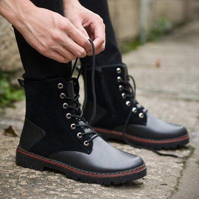 男靴 男鞋馬丁靴高幫黑色正韓皮靴休閒潮子秋冬-小精靈