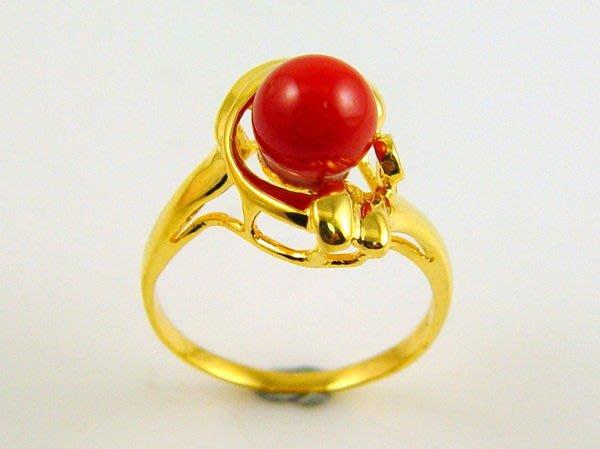 紅珊瑚 戒指 阿卡 圓珠 18K金戒指 附保證書【大千珠寶】