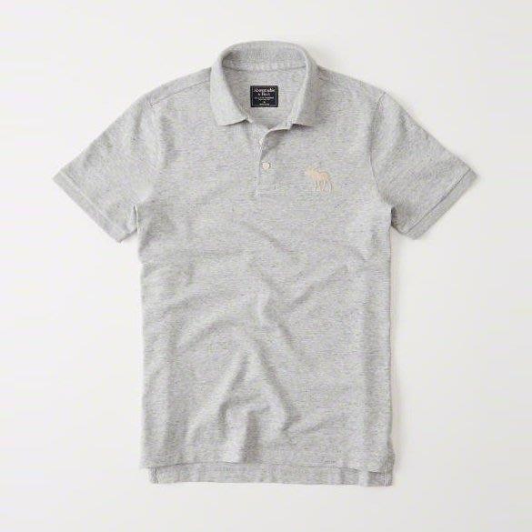 美國百分百【Abercrombie & Fitch】Polo衫 AF 短袖 麋鹿 男 素面 淺麻灰 XS號 I359