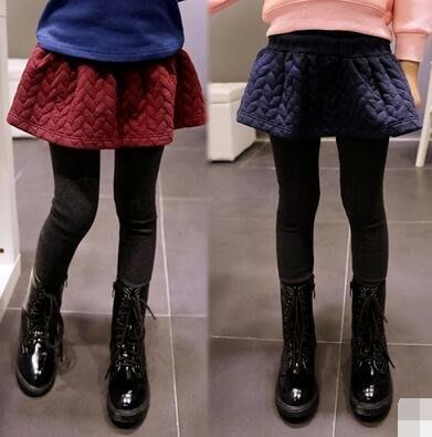 女童打底褲裙 春秋加絨加厚純棉假兩件兒童裙褲中大童長褲—莎芭