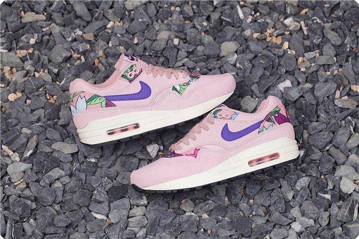 (阿信)NIKE WMNS AIR MAX 1 PRINT 528898-601 粉紅 紫勾 花卉 氣墊復古跑潮鞋 女