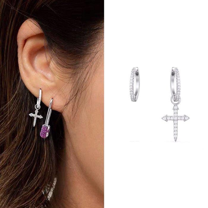 💎1152、80s小怪獸系列 透明感唯美淑女微鑲十字架耳環💎正韓飾品 耳環 珠寶 925純銀針 ED086