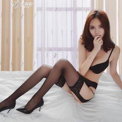 蕾絲吊帶絲襪性感情趣騷高筒襪歐美開檔黑絲襪美腿襪大腿襪