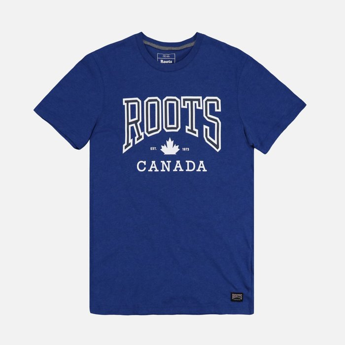 【Roots】【零碼S】男款短袖T恤印白框藍ROOTS寶藍 F11170524-03