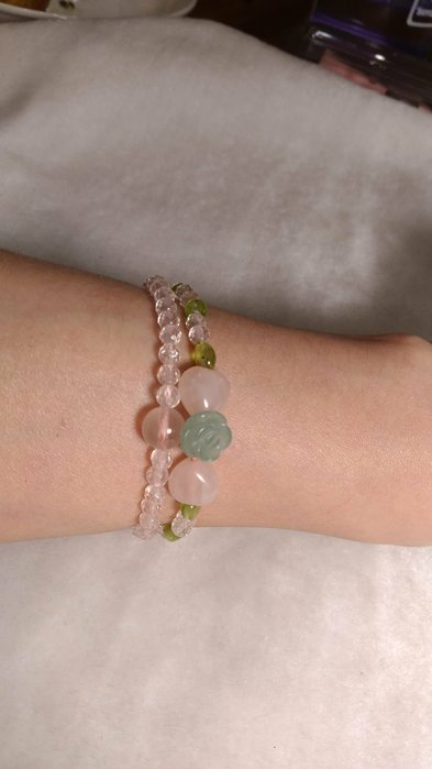 粉水晶二條一起配戴款~獨有設計品質優等水晶含綠玫瑰